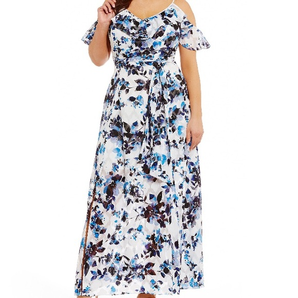 85ac735f51d Eliza J Plus Size Cold Shoulder Printed Maxi Dress